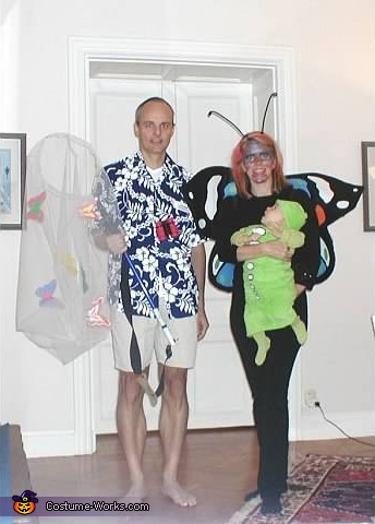 Family costume: Butterfly catcher, mommy butterfly and baby caterpillar, The Butterfly Catcher, Butterfly and Caterpillar Family Costume