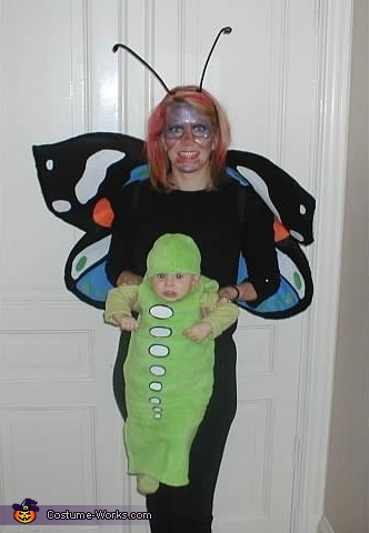 Family costume: mommy butterfly and baby caterpillar, The Butterfly Catcher, Butterfly and Caterpillar Family Costume