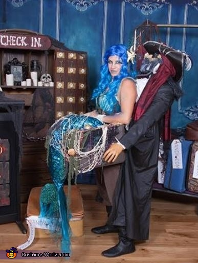 Side view of 'The Captured Mermaid', The Captured Mermaid Costume
