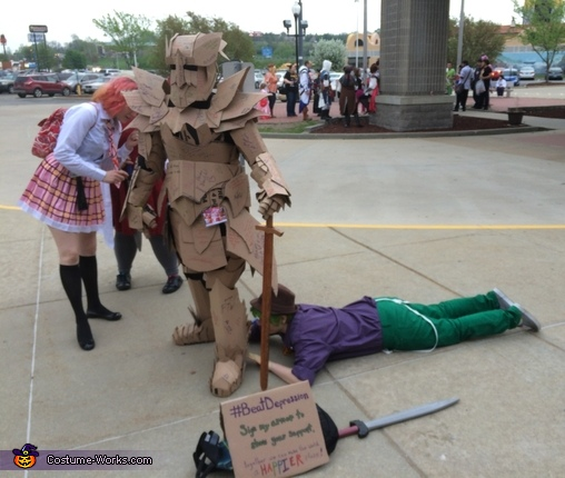 the first time I let people sign me. Few where willing to sign my feet!, The Cardboard Warrior Costume