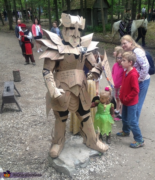 At another event! Ive had people age 3 to 81 sign the armor, The Cardboard Warrior Costume