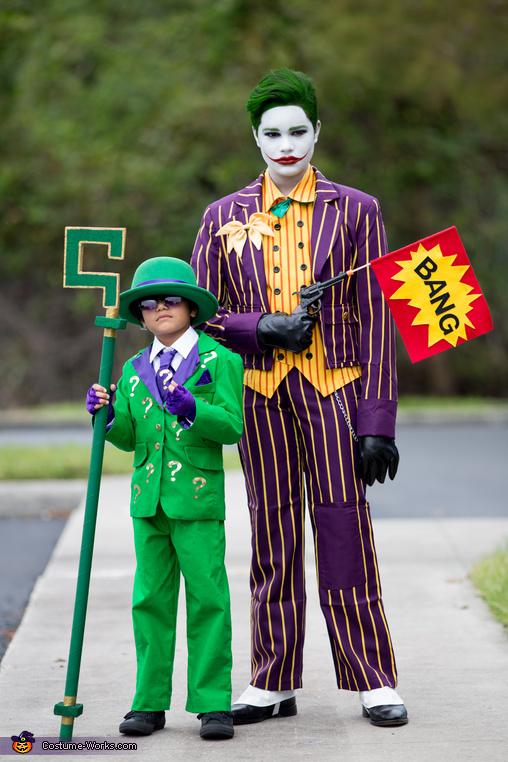Standing side by side with Riddler his little brother., The Classic Joker Costume