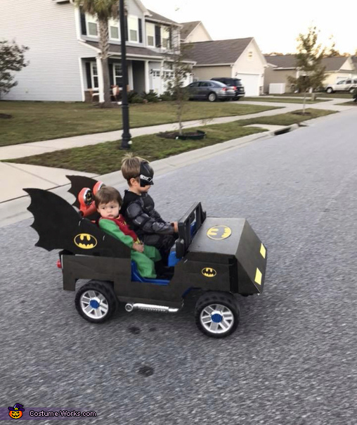 Great side view of custom Bat Mobile!, The Dark Knight Family Costume