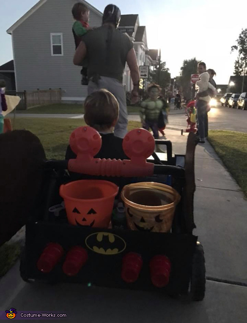 Check out the custom taillights and candy storage!, The Dark Knight Family Costume