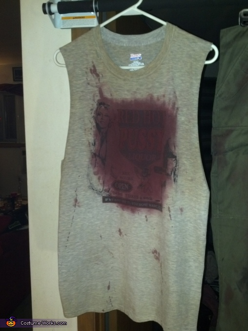 The shirt after much staining and weathering. Hard to believe it was a new shirt a couple hours before this., The Devil's Rejects Otis B. Driftwood Costume