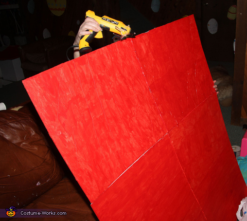 Attaching Foamboard to Make the Box, The Dog Claw Machine Costume