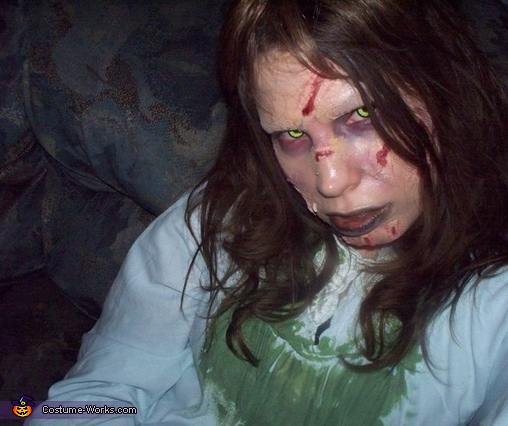 close up of the face so you can see the makeup and the eyes better, The Exorcist!! Reagan Costume