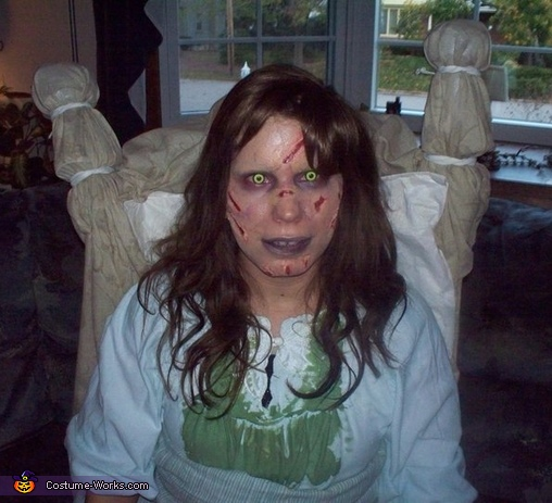 another more detailed shot and it shows me sitting with the bed still attached to me, The Exorcist!! Reagan Costume