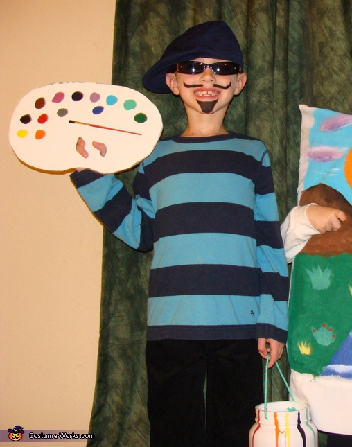 Ayden as a French artist. Artist and his Masterpiece - Homemade costumes for kids