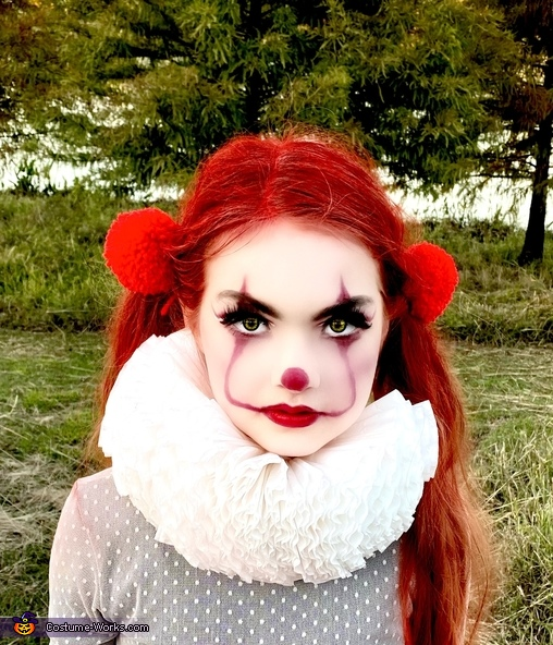 Pennywise face makeup, The Glamorous Pennywise Costume
