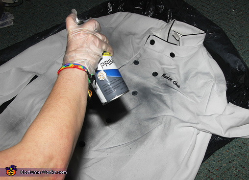 Painting the Costumes Gray and Spooky, The Headless Help in the Haunted Mansion Costume