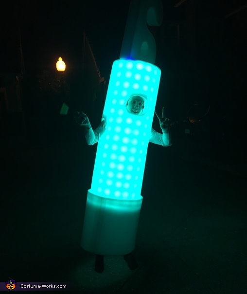 My first test of the glowstick, The Human Glowstick Costume
