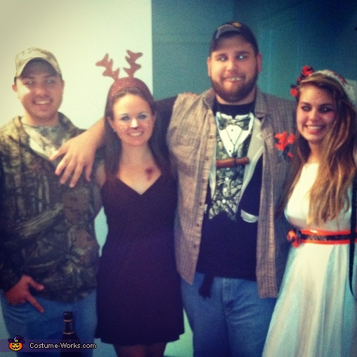 Redneck Wedding with Deer for Dinner, Deer and Hunter Couples Costume