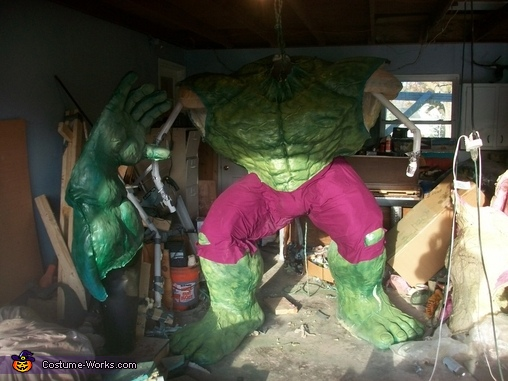 Day 61: I began joining the casts together, with tape, foam and spray adhesive. Purple fabric was hot-glued on to make his pants. Three different colors of spray paint were used for texturing., The Incredible Hulk Costume