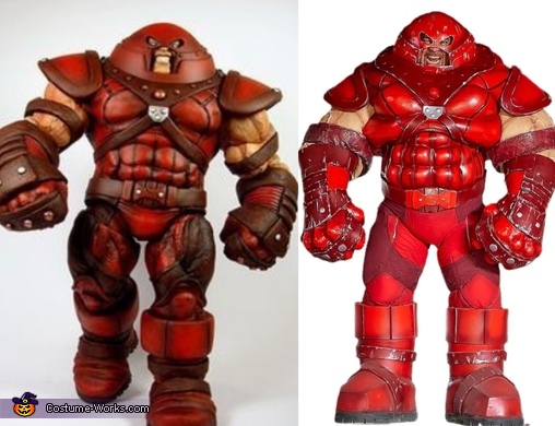 Side by side comparison action figure to costume, The Juggernaut Costume