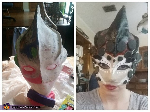 the mask in the begging stages (left) and when I wore it for the first time (right), The Lava Queen and her Guard Costume