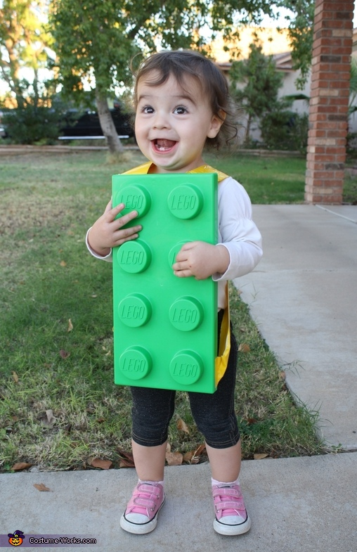 Close up of our little baby Lego brick, The Lego Family Costumes