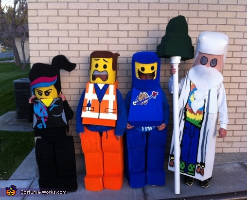 MY kids getting ready for a carnival--yes--the daughter was crying but I took the shot anyway. , Everything is Awesome The LEGO Movie Costume