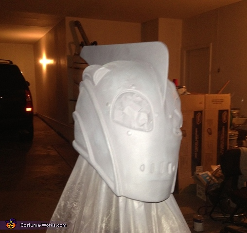 Production process, bondo and priming the helmet , The Little Rocketeer Costume