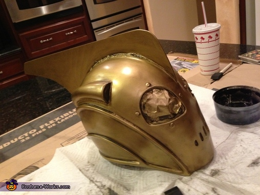 Finishing off the aging process with a glaze, The Little Rocketeer Costume