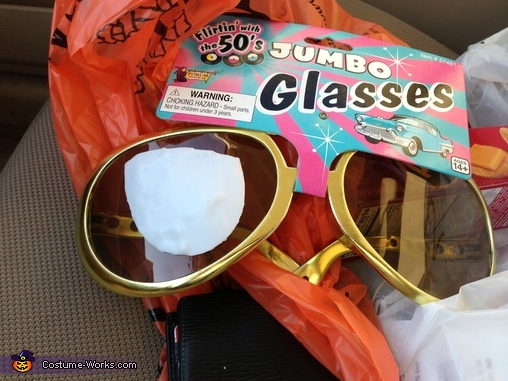 I used these novelty glasses to make the lenses, The Little Rocketeer Costume