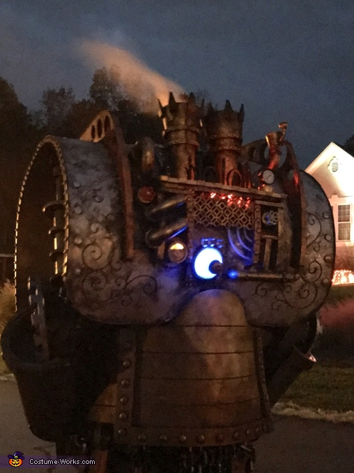 The back, blowing steam, at night, The Luggernaught Costume
