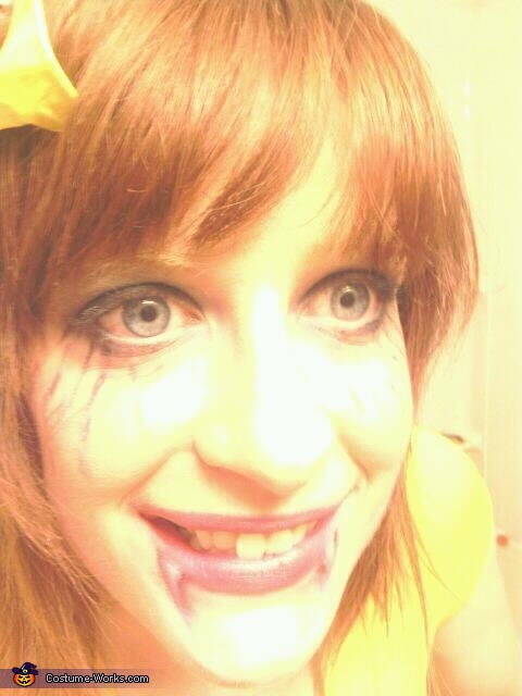 Some zombie makeup (The bow is optional)., The Morton Bath Salts Girl Costume