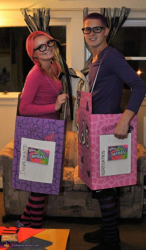We also attached a box of nerds to the side of each box just for fun!. The Nerds - Homemade costumes for couples