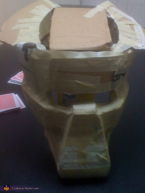 start of mask using cardoard and masking tape, The Predator Costume