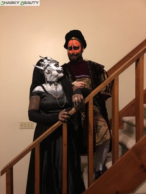 More stair posing but me looking disappointedly at him, The Pumpkin King and Queen Costume