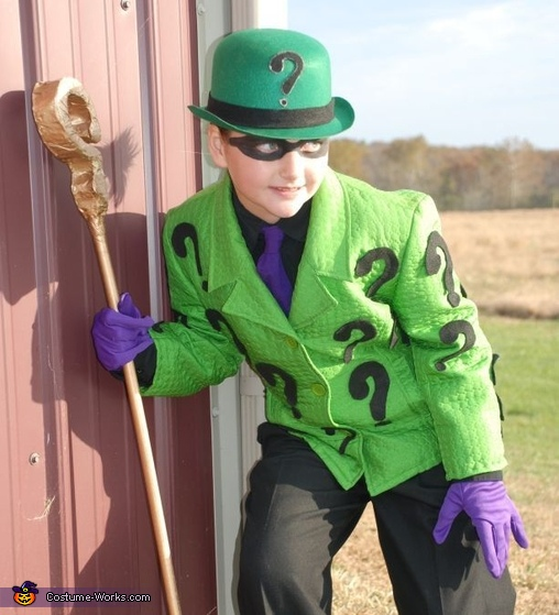 the riddler batman enemies riddler joker and penguin costumes - Joker Halloween Costume Kids