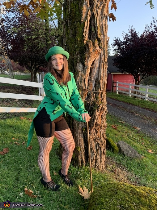 As the sun sets, The Riddler Costume