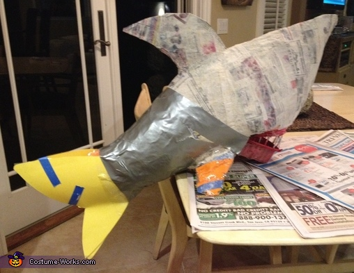 The Paper Mache shark in progress, The Shark Tank TV Show Costume