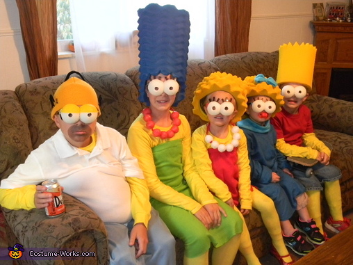 On the couch, (traditional Simpson's style) , The Simpsons Family Costume