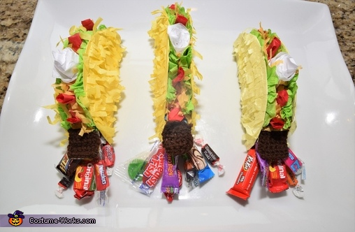 Mini taco pinatas getting stuffed with candy!, The Taco Family Costume