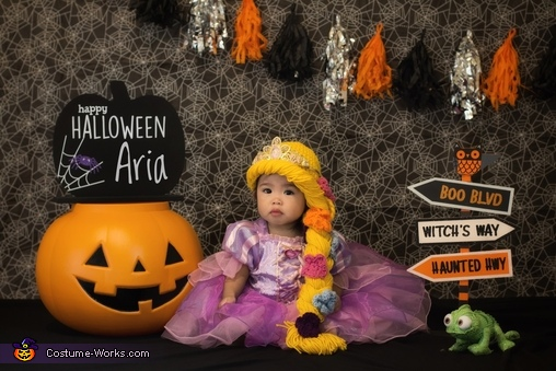 Created a fun Halloween set in our own home for Rapunzel and Pascal!, The Tangled Family Costume