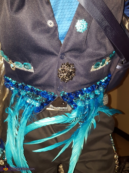 Updated vest; 2 feathers broke  from a bump at the embassy, but easy to splint AND nobody noticed, The Tidal Dandy Costume