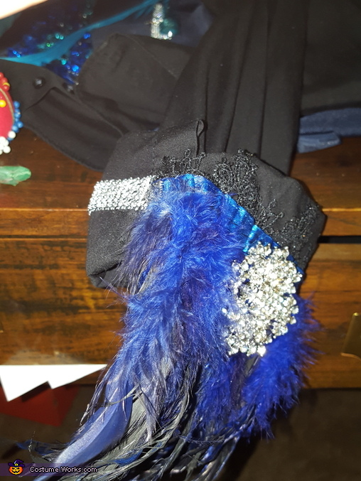 Updated dress shirt sleeves: feather, silk, bling ribbon, brooch, The Tidal Dandy Costume