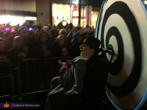 Working the crowd at the NYC Village Halloween Parade, The Vertigo Complex Costume