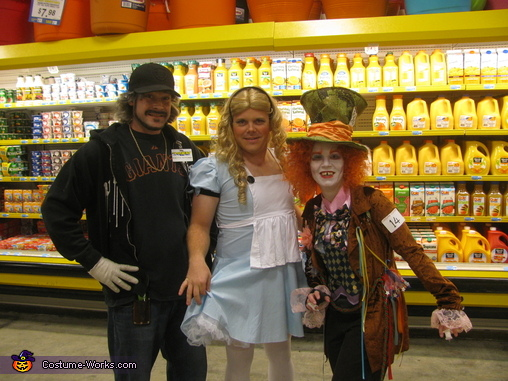 Store worker wanted a picture with us., Alice in Wonderland and Mad Hatter Costume
