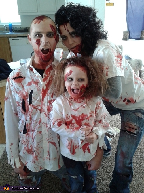 my husband, me and my daughter, The Zombie Clan Family Costume