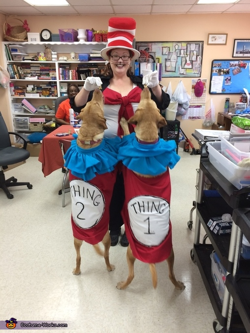 Thing 1 & 2, standing up for treat, Thing 1 & 2 Dogs Costume