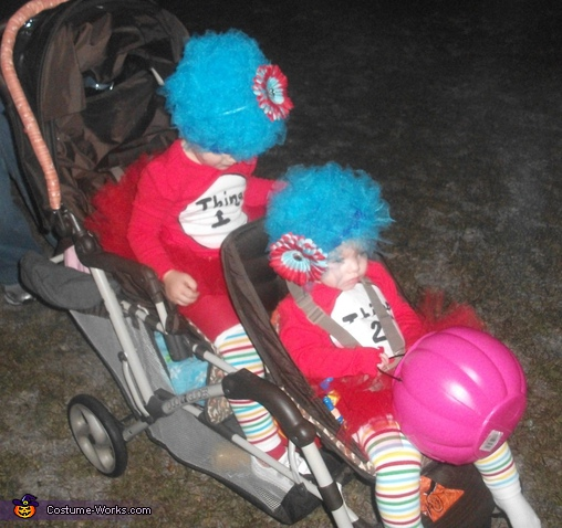 Getting tired after all the walking, so we broke out the stroller, Thing 1 & Thing 2 Costume