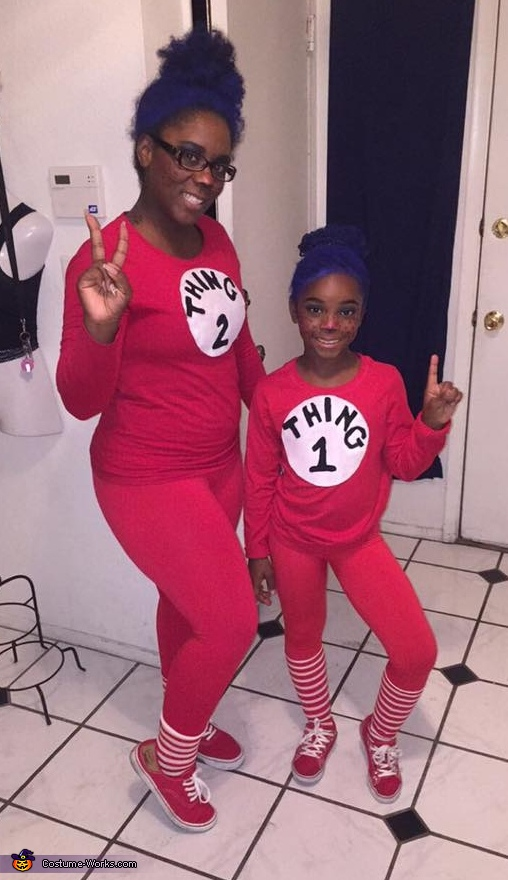 Thing 1, Thing 2 and the Cat in the Hat Homemade Costume