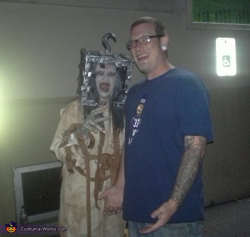 Picture of me in Jackal costume with a guest at the haunted halls of horror, Thirteen Ghosts Jackal Costume
