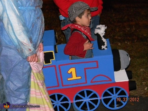 waiting patiently in line., Thomas the Train Costume