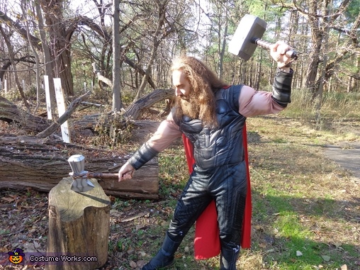 Legends speak of a sword lifted from a stone, but Stormbreaker's resting spot happens to be a tree stump., Thor Odinson Costume