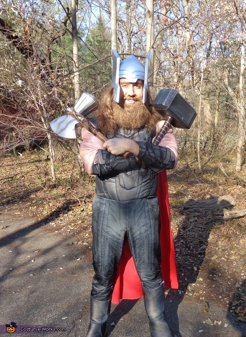 In full costume, with helmet and weapons included, and ready to save the world!, Thor Odinson Costume