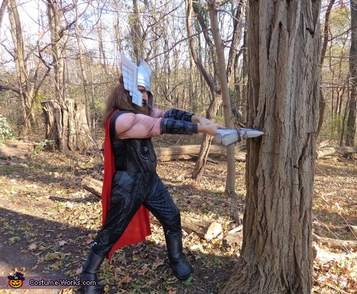Practicing my axe-wielding abilities on a tree in preparation for the next mission., Thor Odinson Costume