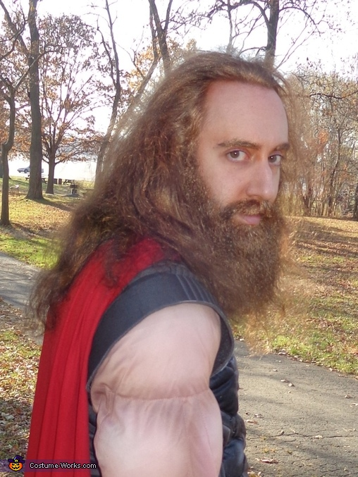 A close-up of me, without the helmet.  As you can see, the hair and beard are both real!, Thor Odinson Costume